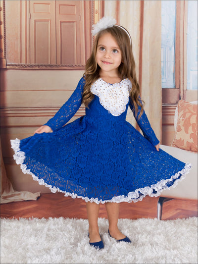Girls Royal Antique Lace dress w/ Bows - Girls Fall Dress
