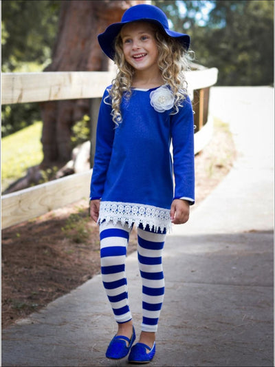 Girls Royal Blue & Creme Side Slit Crochet Jacquard Tunic & Striped Leggings Set - Girls Fall Casual Set