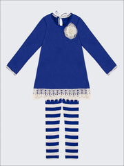 Girls Royal Blue & Creme Side Slit Crochet Jacquard Tunic & Striped Leggings Set - Blue / 2T/3T - Girls Fall Casual Set
