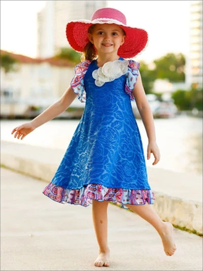 Girls Royal Blue Floral & Paisley Swing Dress - Blue / 3T - Girls Spring Casual Dress