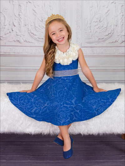 Girls Royal Blue Pearl Collar Fancy Skater Twirl Dress - Girls Fall Dress