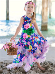 Girls Royal Blue & Pink Floral Ruffled Handkerchief Dress - Girls Spring Dressy Dress