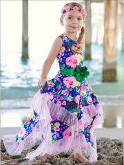 Girls Royal Blue & Pink Floral Ruffled Handkerchief Dress - Royal Blue/Pink / 2T/3T - Girls Spring Dressy Dress