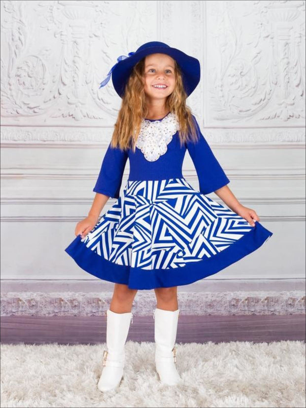 Girls Royal & Creme Circle Skirt Fancy Collar Printed Dress - Girls Fall Dress
