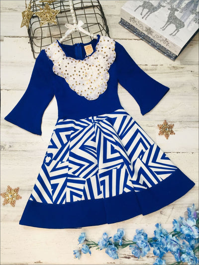 Girls Royal & Creme Circle Skirt Fancy Collar Printed Dress - Blue/white / 3T - Girls Fall Dress