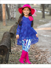 Girls Royal Lace Peasant Sleeve Hi-Lo Tunic & Matching Printed Leggings Set - Girls Fall Casual Set
