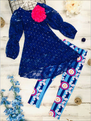 Girls Royal Lace Peasant Sleeve Hi-Lo Tunic & Matching Printed Leggings Set - 2T/3T / Royal - Girls Fall Casual Set