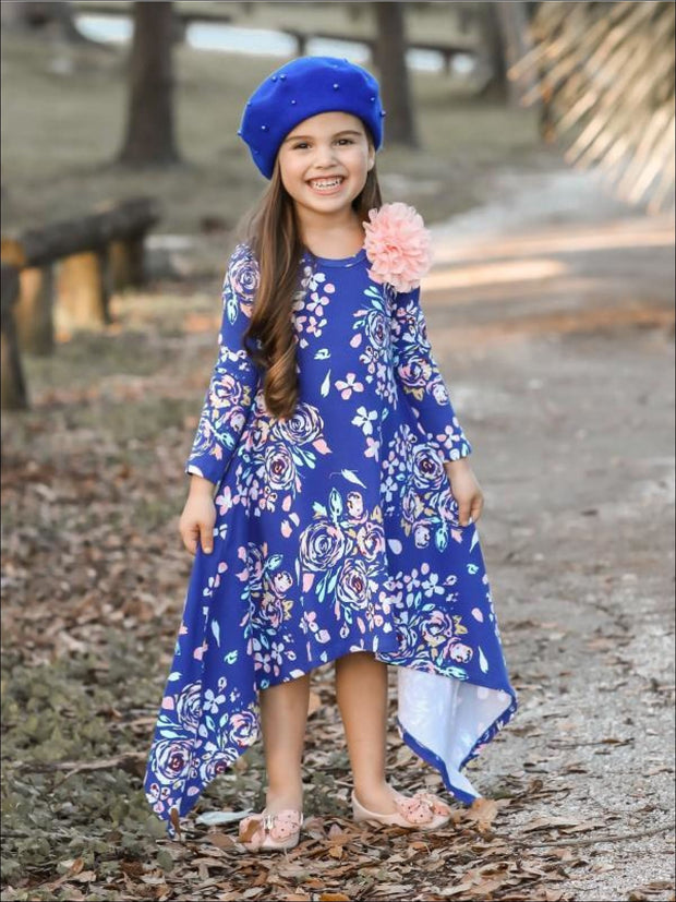 Girls Royal & Peach Floral Sidetail Dress - Girls Fall Casual Dress