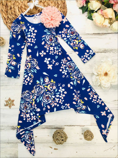 Girls Royal & Peach Floral Sidetail Dress - Royal/Peach / 2T/3T - Girls Fall Casual Dress
