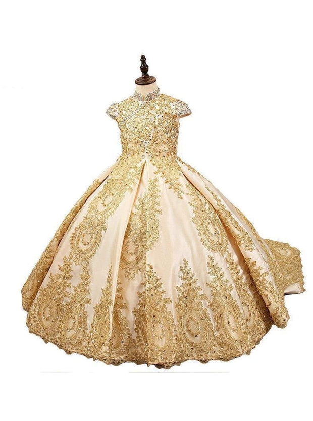 Girls Royal Satin Lace Beaded Short Sleeve Communion Pageant Flower Girl Ball Gown - Girls Gown