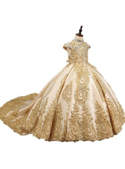 Girls Royal Satin Lace Beaded Short Sleeve Communion Pageant Flower Girl Ball Gown - Gold / 2T - Girls Gown