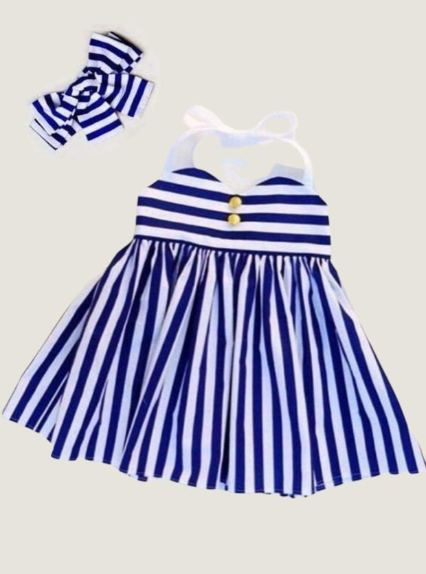 Girls Royal Striped Halter Dress with Bow - Girls Spring Casual Dress
