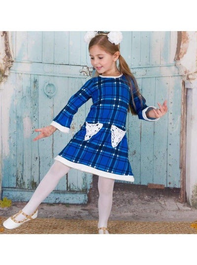 Girls Royal/White Twiggy Style Dress - Fall Low Stock