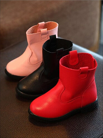 Girls Rubber Slip-On Mid Calf Booties - Black / 1 - Girls Boots
