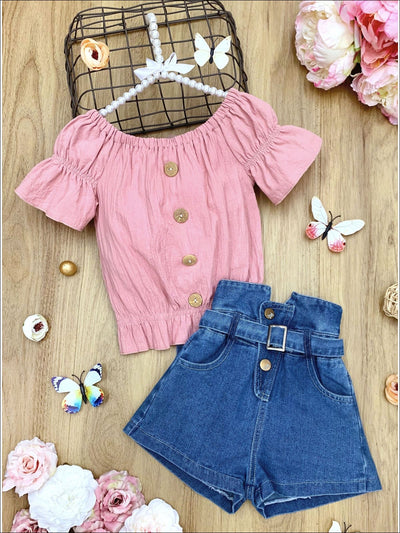 Girls Ruched Button Top and Belted High Waist Denim Shorts Set - Pink / 3T - Girls Spring Casual Set
