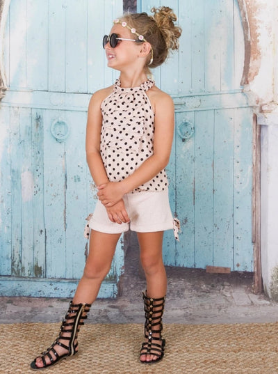 Girls Ruched Halter Neck Cascade Front Top & Cuffed Bow Shorts Set - Girls Spring Casual Set