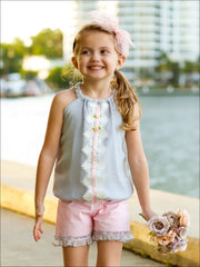 Girls Ruched Halter Neck Trimmed Tuxedo Top & Ruffled Shorts Set - Girls Spring Casual Set