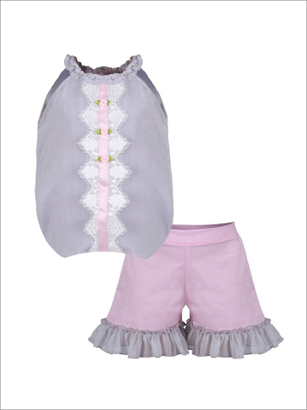 Girls Ruched Halter Neck Trimmed Tuxedo Top & Ruffled Shorts Set - Grey / 2T/3T - Girls Spring Casual Set