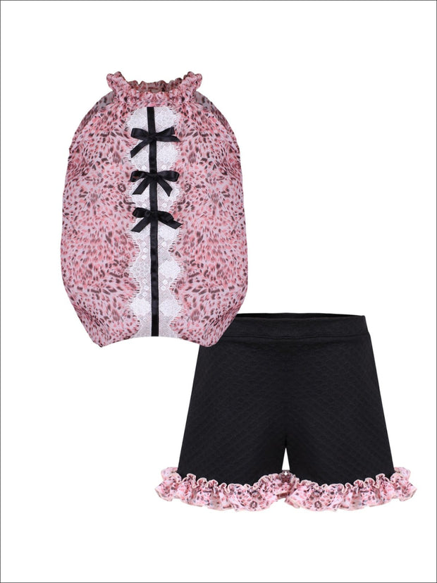 Girls Ruched Halter Neck Trimmed Tuxedo Top & Ruffled Shorts Set - Pink / 2T/3T - Girls Spring Casual Set