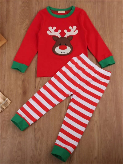 Girls Rudolf Reindeer Striped Holiday Pajama Set - Girls Christmas Pajama