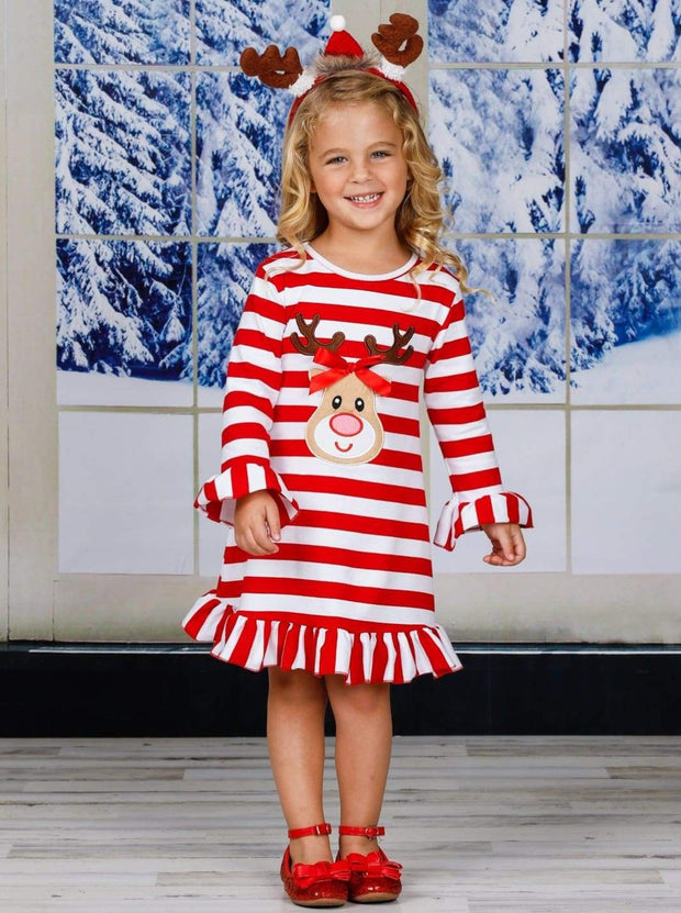 Girls Rudolph Long Sleeve Striped Ruffled Dress - Girls Christmas Dress