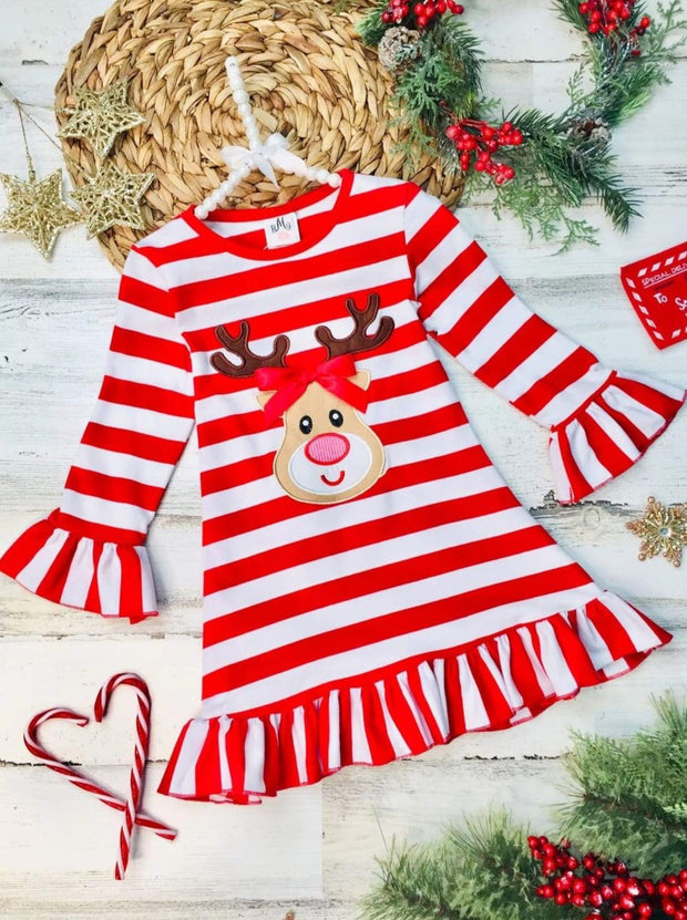 Girls Rudolph Long Sleeve Striped Ruffled Dress - Red / 3T - Girls Christmas Dress