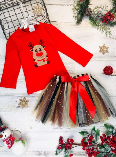 Girls Rudolph Top & Tutu Star Bow Skirt Set - Red / 2T - Girls Christmas Set