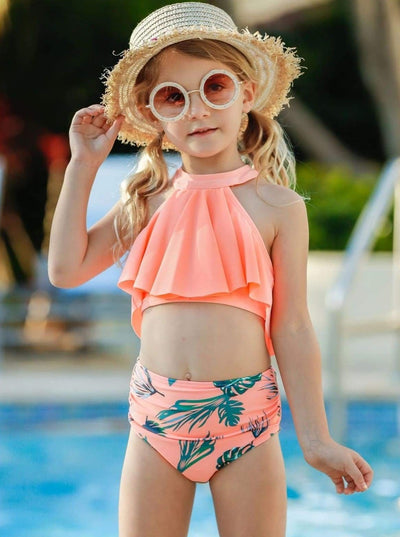 Girls Ruffle Halter Top High Waist Two Piece Swimsuit - Girls Two Piece Swimsuit