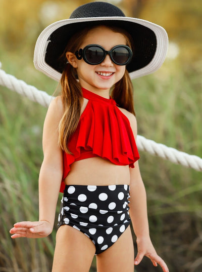 Girls Ruffle Halter Top High Waist Two Piece Swimsuit - Red / 4T - Girls Two Piece Swimsuit
