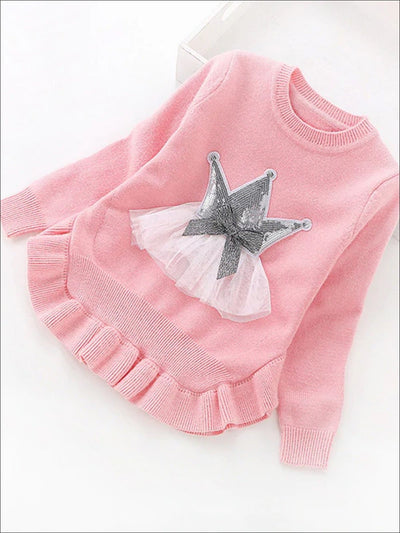 Girls Ruffle Hem Sequin Princess Sweater - Pink / 2T - Girls Sweater