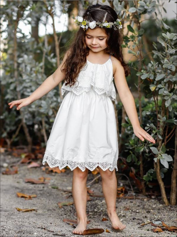 Girls Ruffle Layer Lace Racer Back Dress - Girls Spring Casual Dress