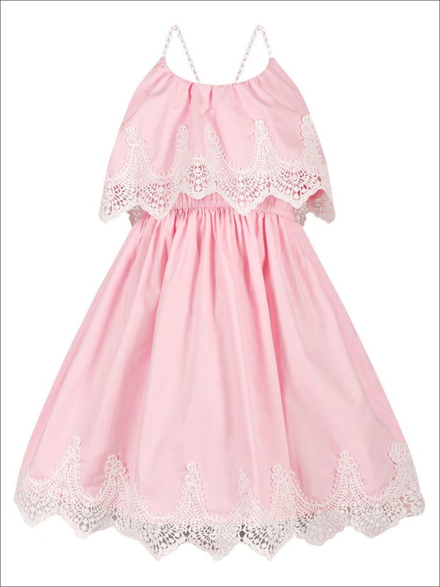 Girls Ruffle Layer Lace Racer Back Dress - Pink / 2T/3T - Girls Spring Casual Dress
