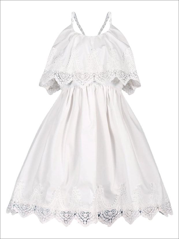 Girls Ruffle Layer Lace Racer Back Dress - White / 2T/3T - Girls Spring Casual Dress