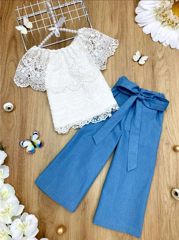 Girls Ruffle Off Shoulder Lace Top and Chambray Sash-Waist Palazzo Pants Set - Denim / 2T/3T - Girls Spring Casual Set