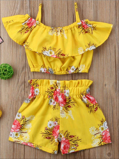 Girls Ruffle Off The Shoulder Midriff Top & Matching Shorts - Yellow / 2T - Girls Spring Casual Set
