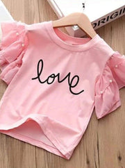 Girls Ruffle Sleeve Love Graphic Tee & Denim Heart Shorts Set ( 2 Color Options) - Girls Spring Casual Set