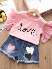 Girls Ruffle Sleeve Love Graphic Tee & Denim Heart Shorts Set ( 2 Color Options) - Pink / 3T - Girls Spring Casual Set