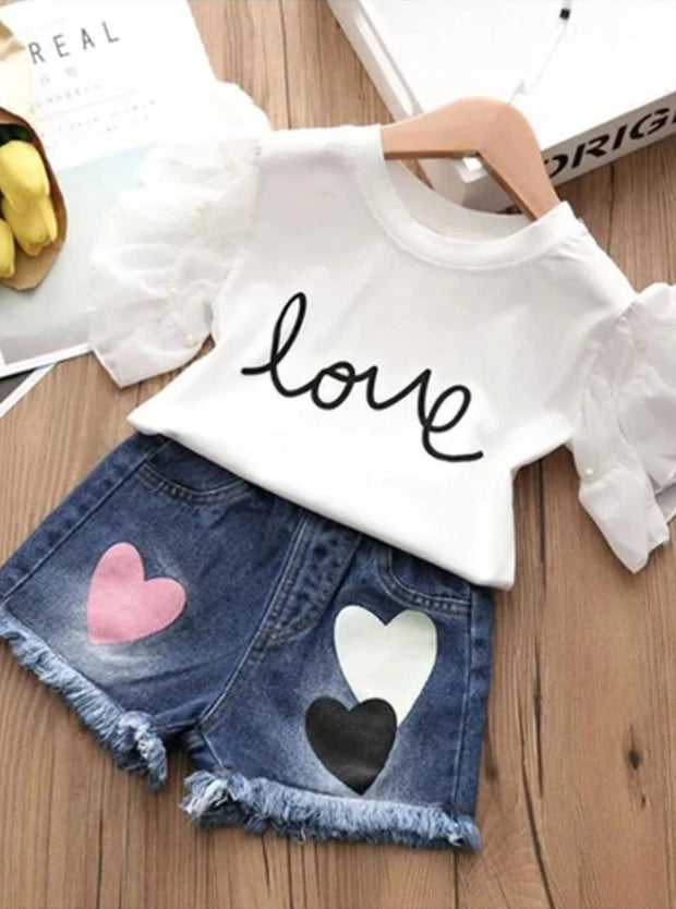 Girls Ruffle Sleeve Love Graphic Tee & Denim Heart Shorts Set ( 2 Color Options) - White / 3T - Girls Spring Casual Set