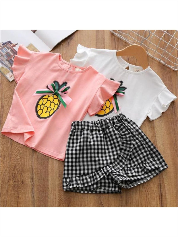 Girls Ruffle Sleeve Pineapple T-Shirt & Gingham Shorts Set - Girls Spring Casual Set