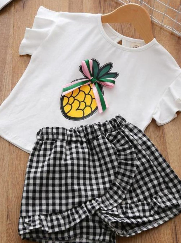 Girls Ruffle Sleeve Pineapple T-Shirt & Gingham Shorts Set - Beige / 2T - Girls Spring Casual Set
