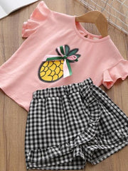 Girls Ruffle Sleeve Pineapple T-Shirt & Gingham Shorts Set - pink / 2T - Girls Spring Casual Set