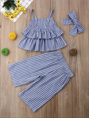 Girls Ruffle Tiered Top With Button Down Palazzo Pants & Matching Headband Set - Girls Spring Casual Set