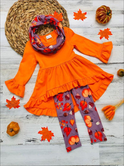 Girls Ruffled 3/4 Sleeve Hi Lo Tunic Pumpkin Print Leggings & Scarf Set - Orange / 3T - Girls Fall Casual Set