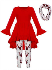 Girls Ruffled A-Line Long Sleeve Tunic Moose Print Leggings & Scarf Set - Red / S-3T - Girls Christmas Set