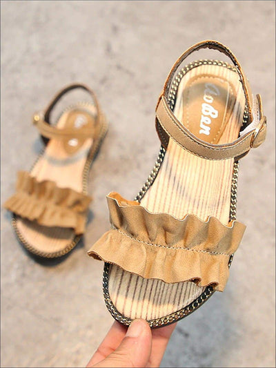 Girls Ruffled Applique Buckle Strap Spring Sandals - Brown / 1 - Girls Sandals