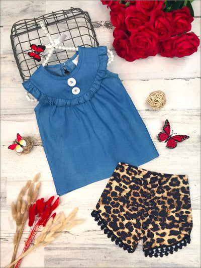 Girls Ruffled Bib Button Top and Leopard Pom Pom Shorts Set - Blue / 2T - Girls Spring Casual Set