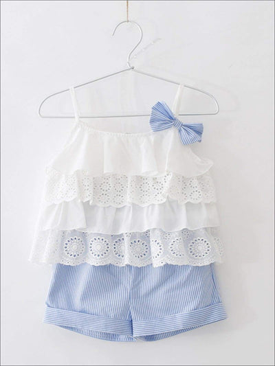 Girls Ruffled Blouse With Striped Shorts Set - Girls Spring Casual Set