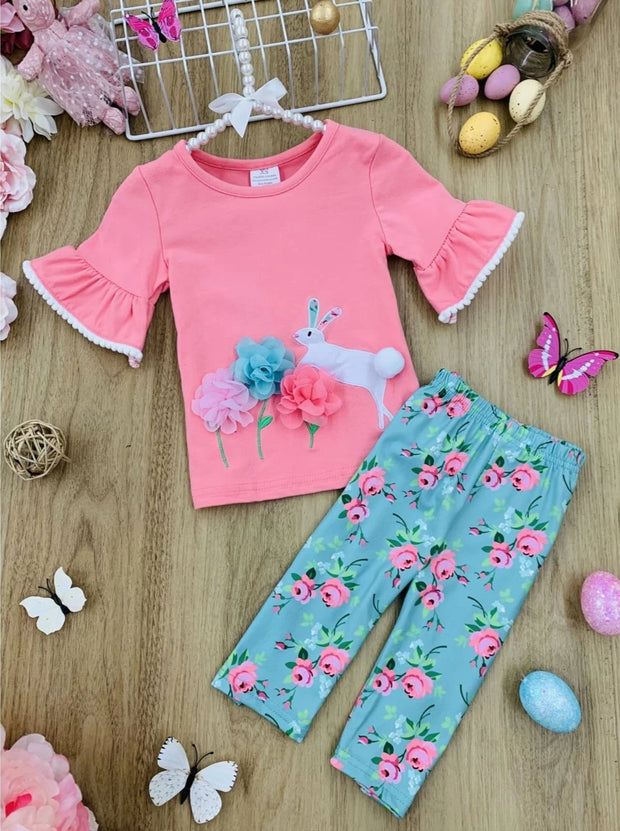 Girls Ruffled Bunny Mesh Floral Top and Capri Leggings Set - Pink / 2T - Girls Spring Casual Set