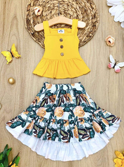 Girls Ruffled Button Crop Top and Floral Hi-Lo Skirt - Yellow / 2T - Girls Spring Casual Set