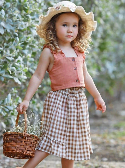 Girls Ruffled Buttoned Crop Top and Gingham Skirt Set - Girls Spring Casual Set